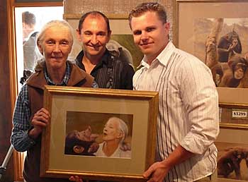 Jane Goodall with artists Leigh Rust and Patrick Hedges