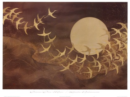 Cranes over Moon Fine Art Bird Print