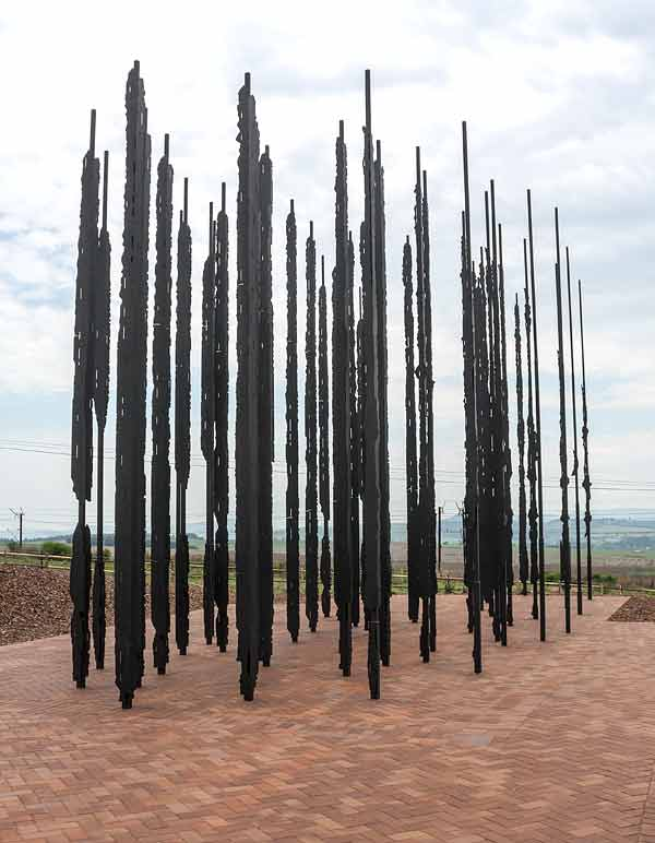 Forest of steel columns that make up Mandela sculpture