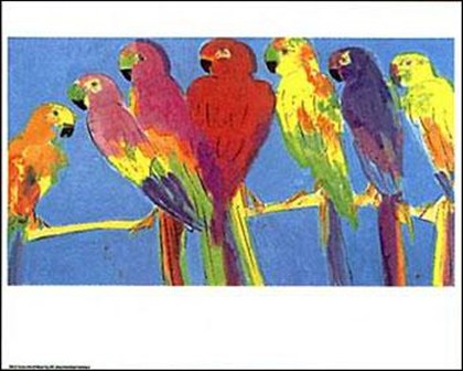 Parrots in blue art print