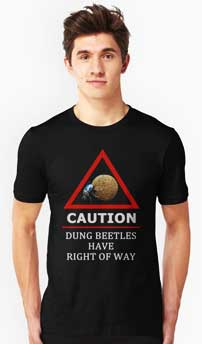 T-shirt with dungbeetle road sign