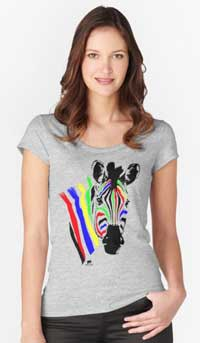 T-shirt with colorful zebra