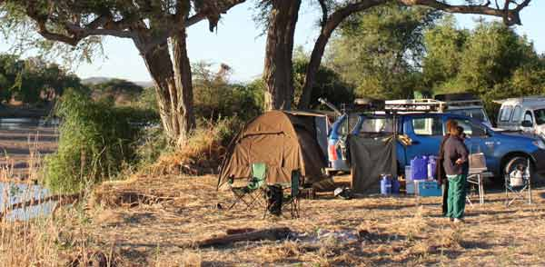 Camping next to river, Ruaha National Park, Tanzania