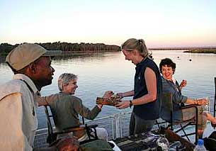 Sundowner cruise on the Zambezi River
