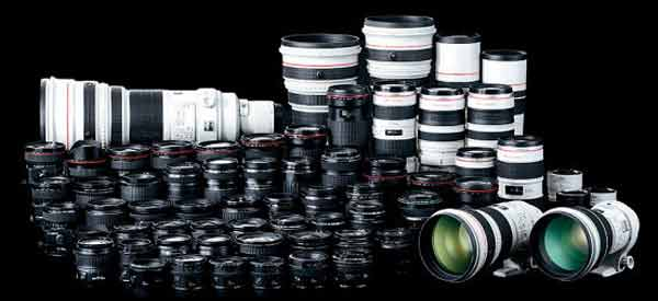 Line up of Canon EF lenses